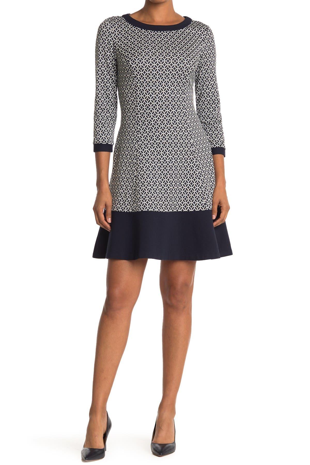 Image of Eliza J Geometric Colorblock Trim Dress