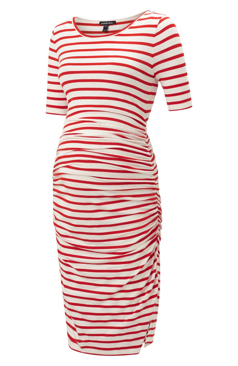 ISABELLA OLIVER Nia Ruched Maternity Dress, Main, color, RED/ WHITE STRIPE