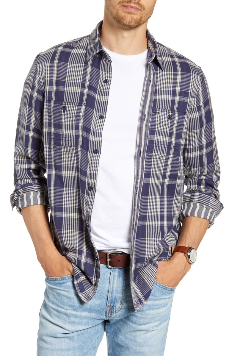 1901 Workwear Duofold Trim Fit Plaid Cotton Twill Shirt, Main, color, 420