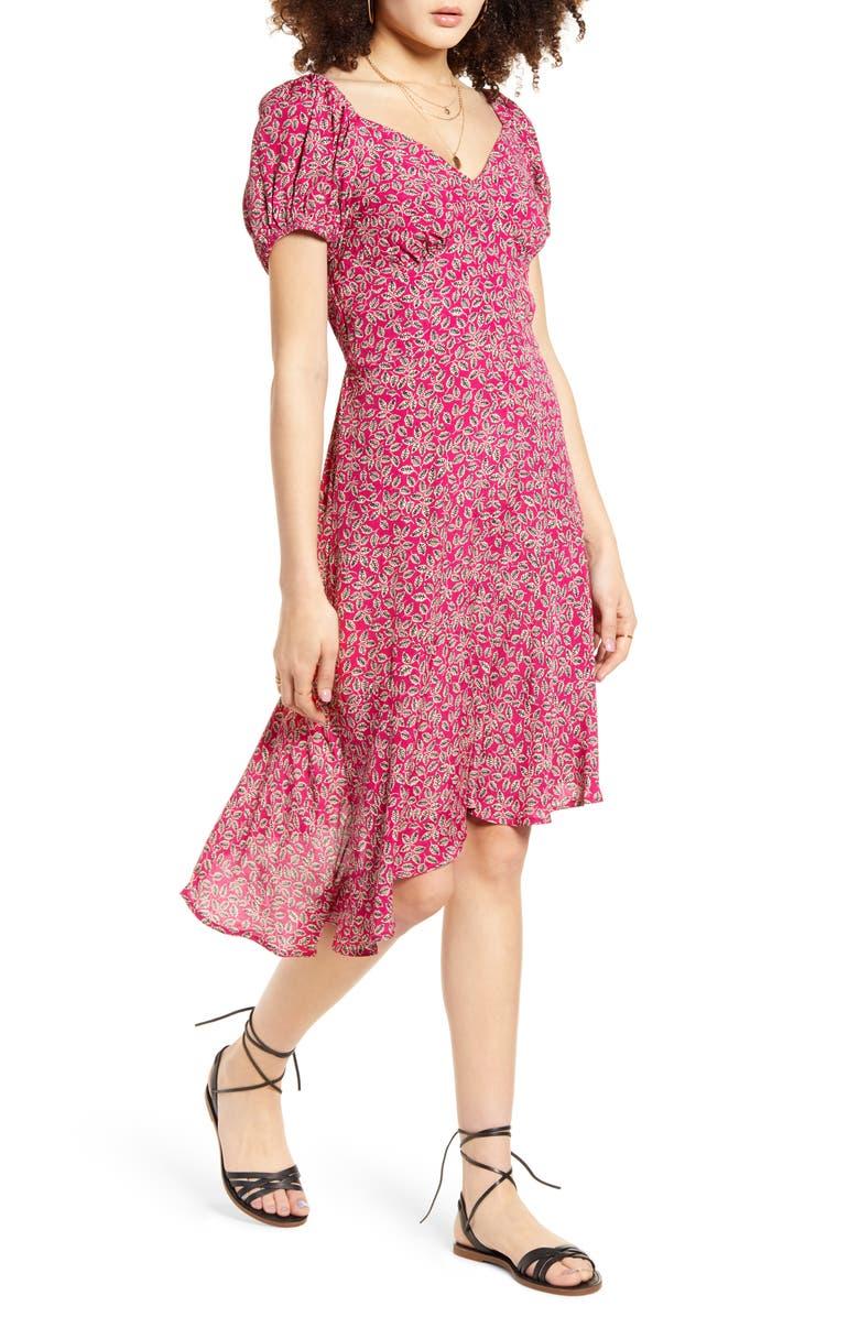 BAND OF GYPSIES Lake Como Floral Print Faux Wrap Dress, Main, color, MAHOGANY CREAM