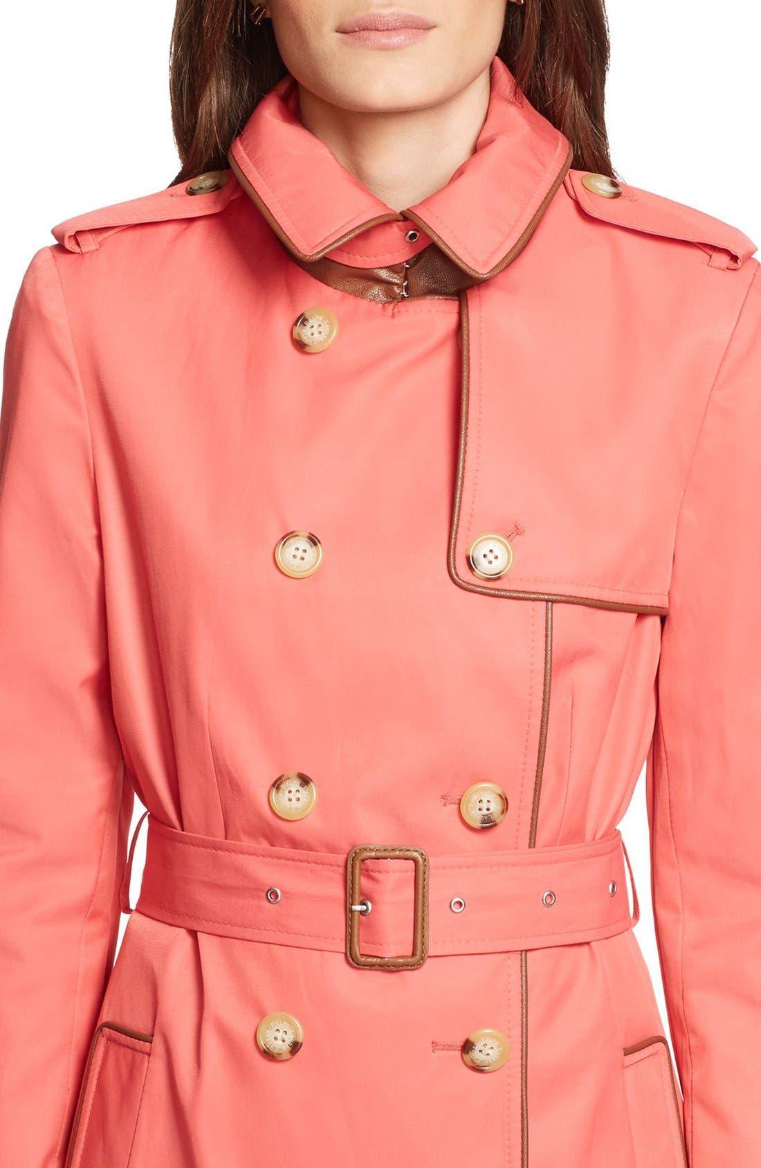 ,                             Faux Leather Trim Trench Coat,                             Alternate thumbnail 50, color,                             650