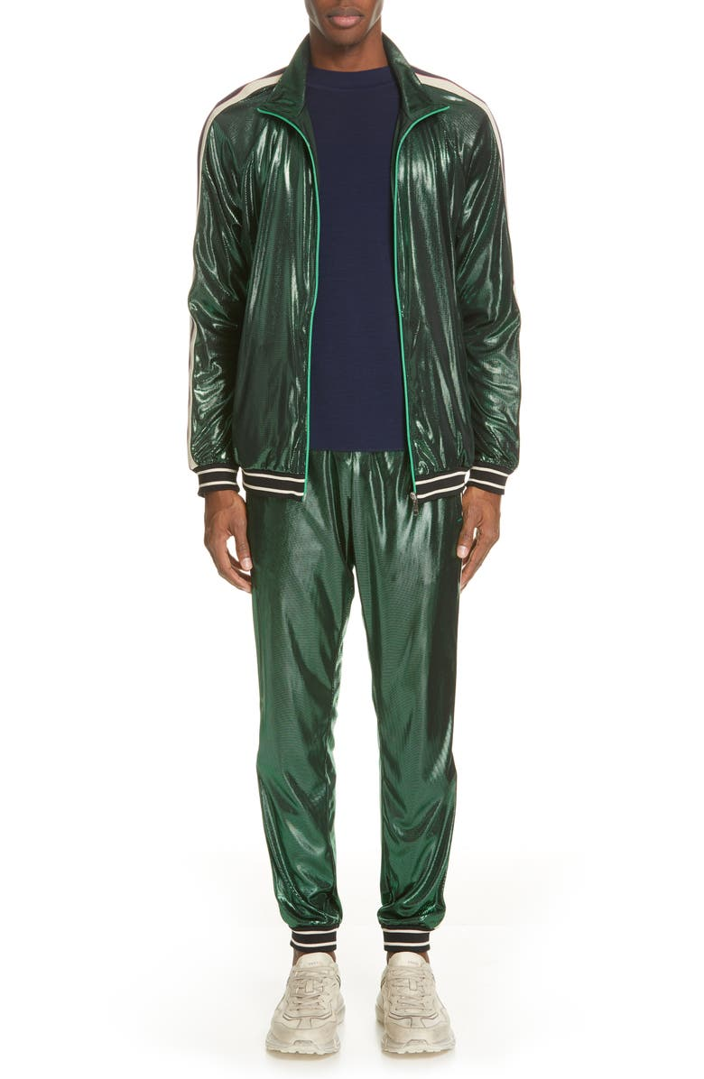 GUCCI Shimmer Track Pants, Main, color, GREEN