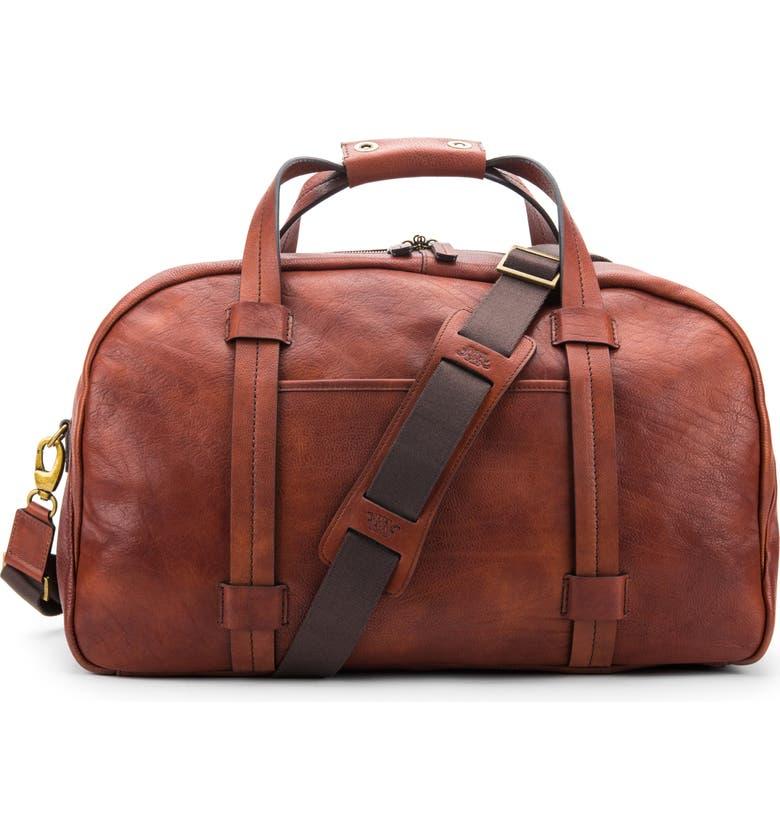 BOSCA Leather Duffle Bag, Main, color, DARK BROWN