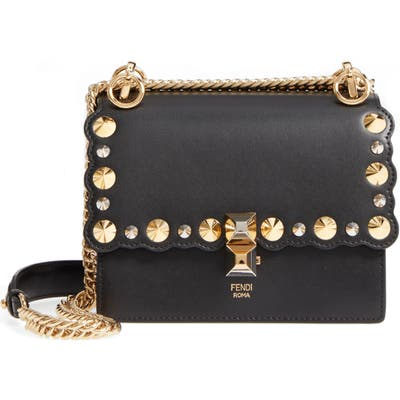 Fendi Small Kan I Scallop Leather Shoulder Bag - Black