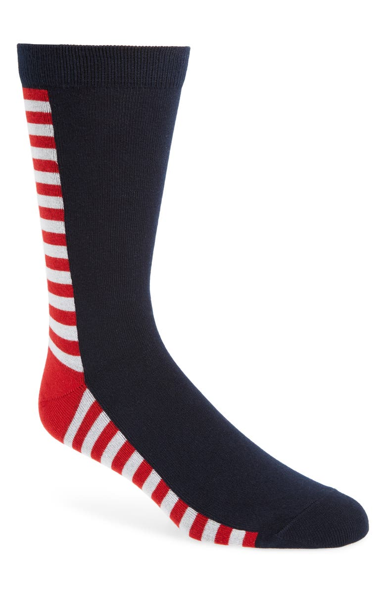 1901 Block Stripe Socks, Main, color, RED/ WHITE/ BLUE