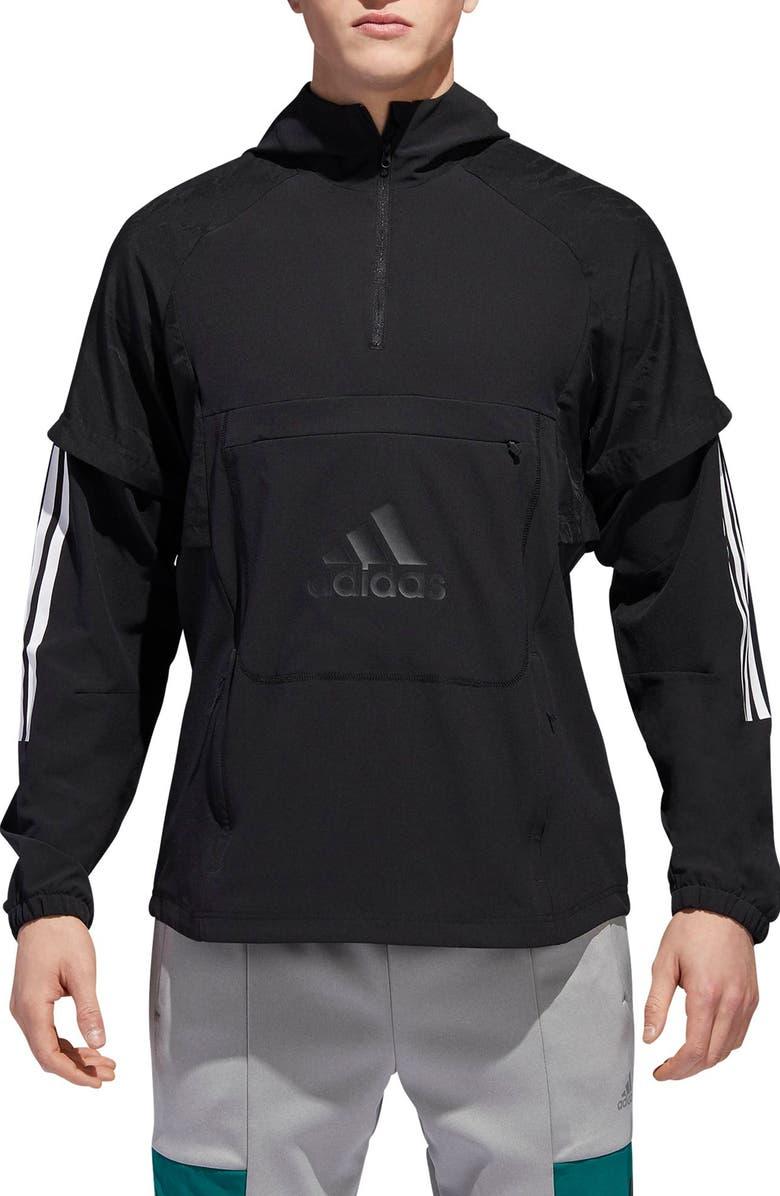 ADIDAS ID Hooded Quarter Zip Jacket, Main, color, BLACK