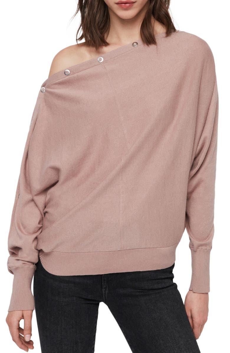 ALLSAINTS Elle Cotton Sweater, Main, color, SORREL PINK