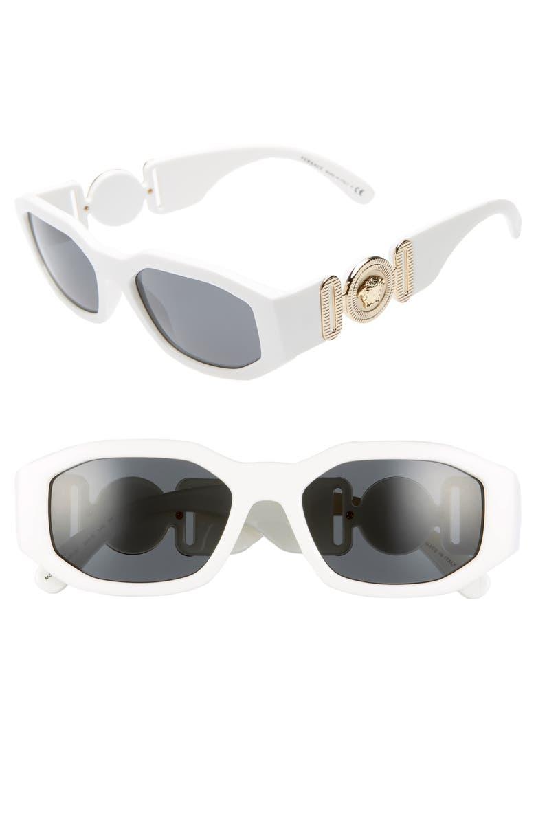 VERSACE 53mm Square Sunglasses, Main, color, WHITE