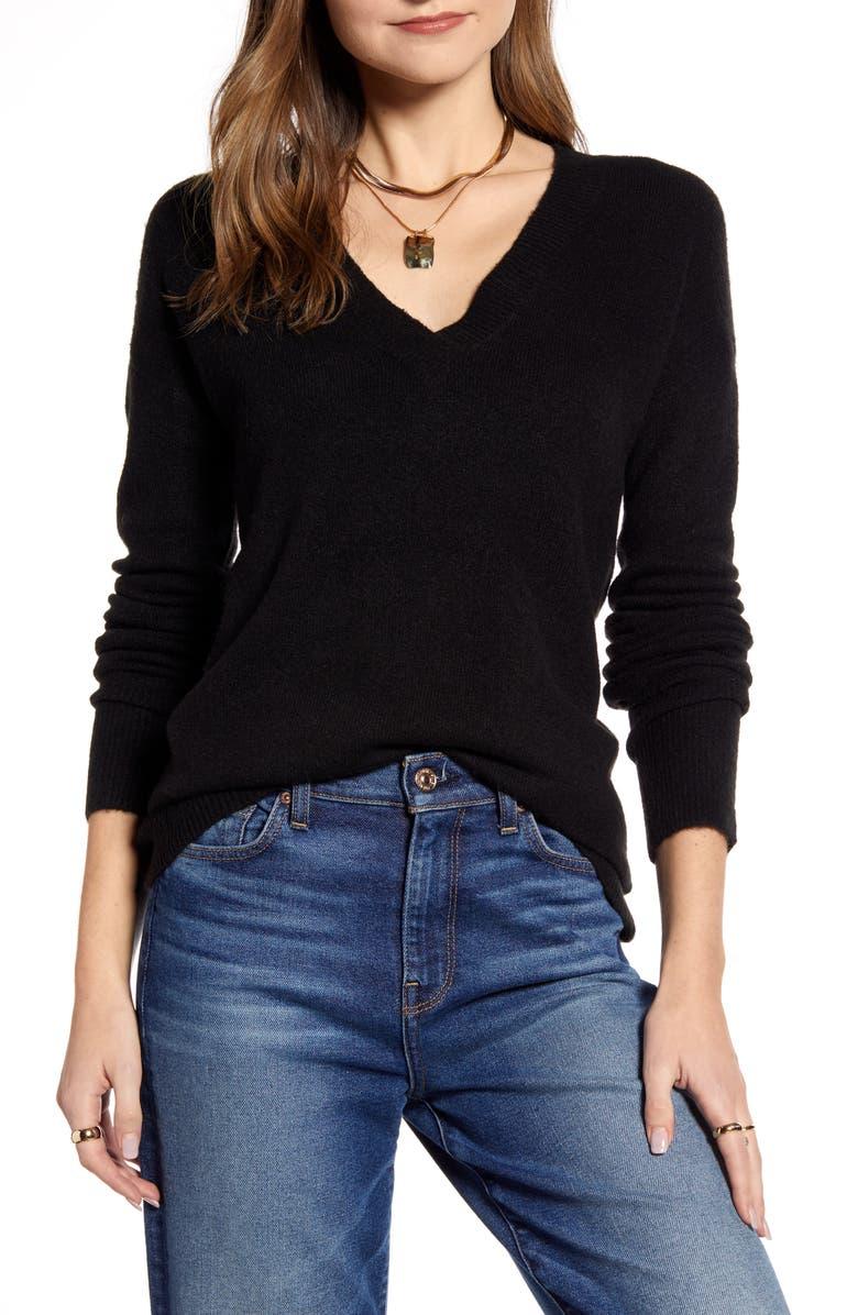 HALOGEN<SUP>®</SUP> V-Neck Sweater, Main, color, 001