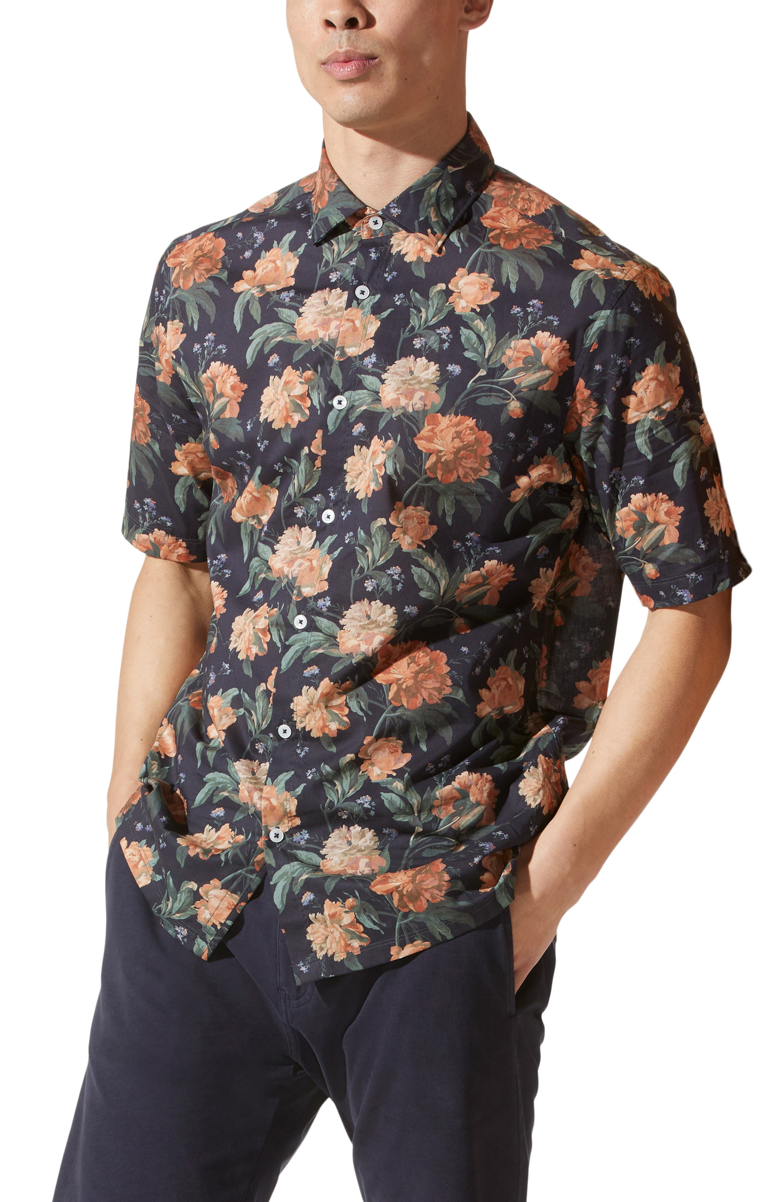 On-Point Print Short Sleeve Button-Up Shirt