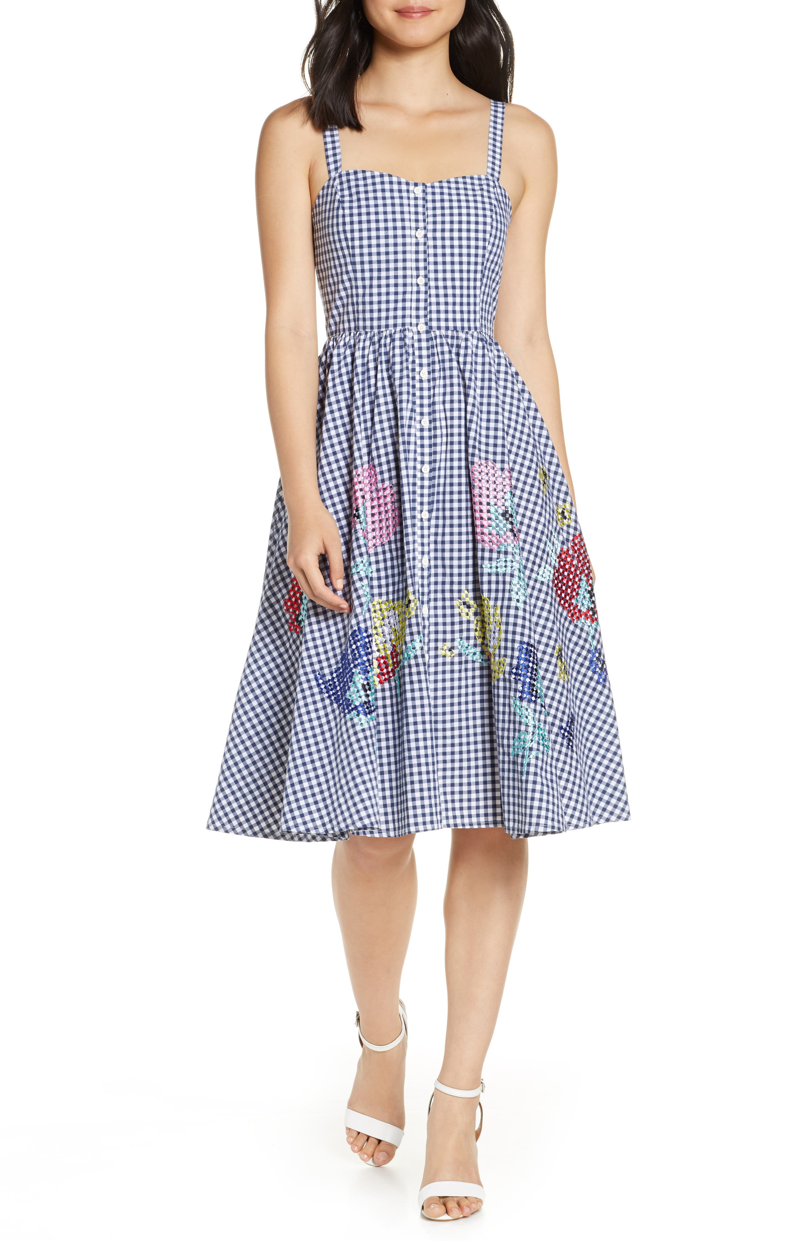French Connection Embroidered Gingham Fit & Flare Sundress, Blue