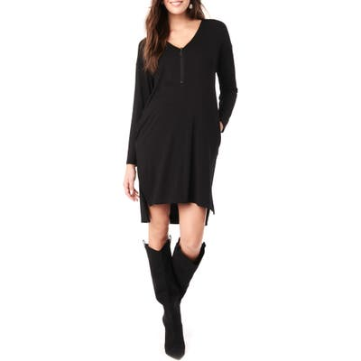 Loyal Hana Farah Long Sleeve V-Neck Maternity Dress, Black