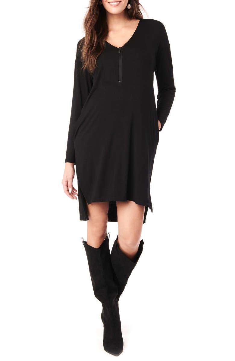 LOYAL HANA Farah Long Sleeve V-Neck Maternity Dress, Main, color, BLACK