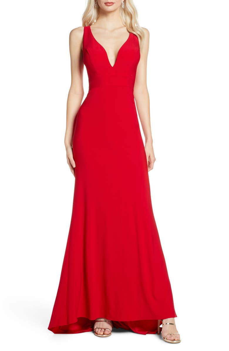 MAC DUGGAL V-Neck Jersey Gown with Train, Main, color, RED