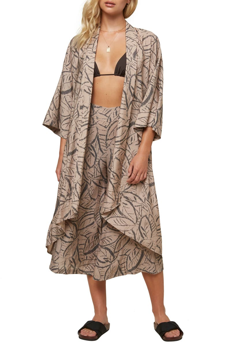 O'NEILL Joceylnn Palm Print Woven Wrap Top, Main, color, SHADOW GRAY