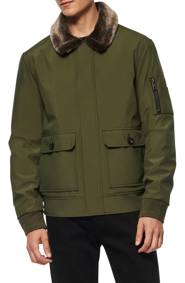 MARC NEW YORK Kingshill Faux Fur Collar Aviator Jacket, Main, color, FOREST
