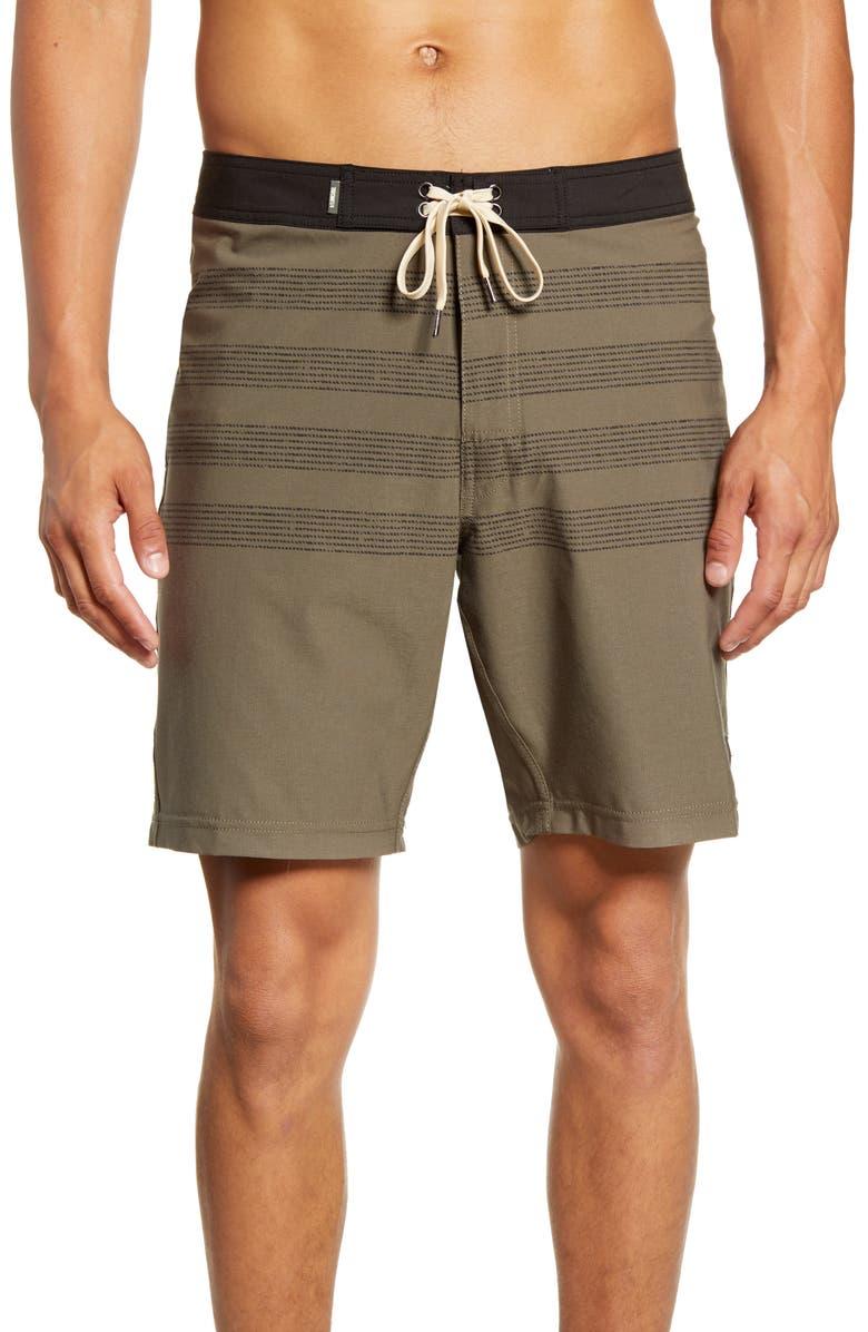 LINKSOUL Broken Stripe Board Shorts, Main, color, SAFARI