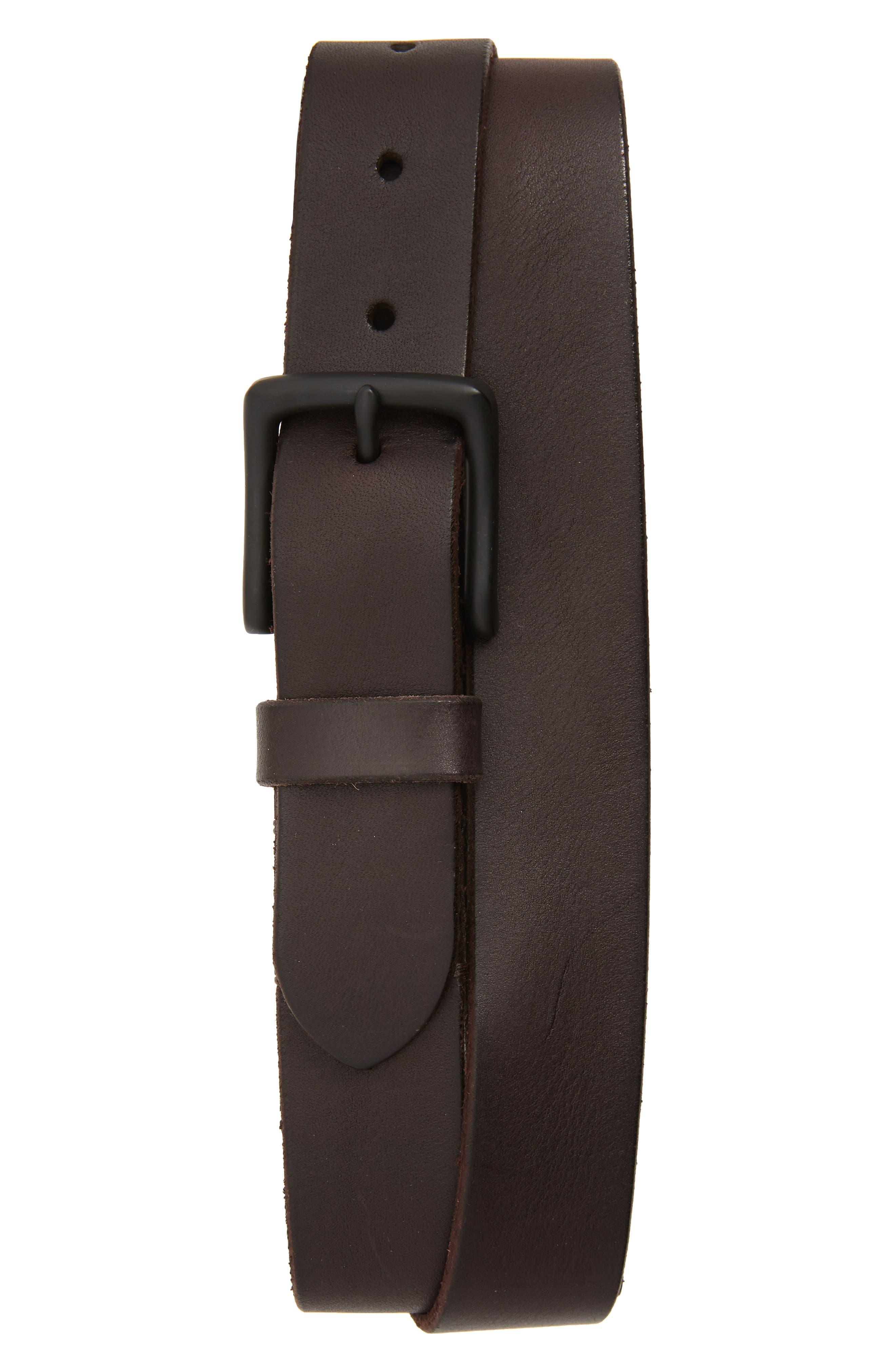 Allsaints Leather Belt, Dark Brown/ Matte Black