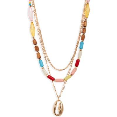 Bp. Triple Strand Bead & Metal Shell Necklace