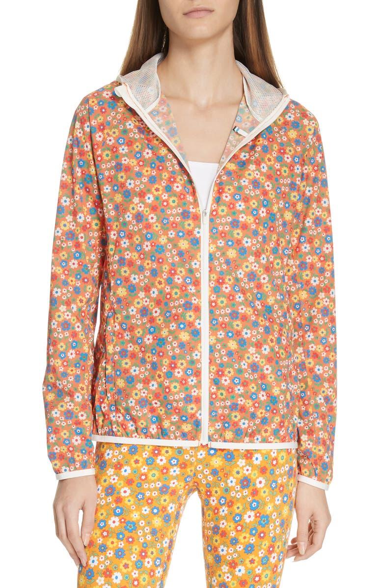 TORY SPORT Floral Print Waterproof Packable Jacket, Main, color, RITZY FLORAL VIBRANT ORANGE