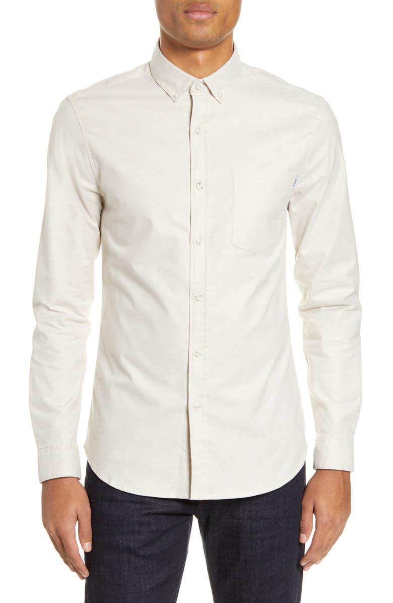 TOPMAN Slim Fit Stretch Button-Down Oxford Shirt, Main, color, STONE