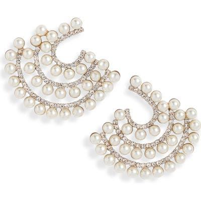 Cristabelle Triple Row Imitation Pearl Earrings