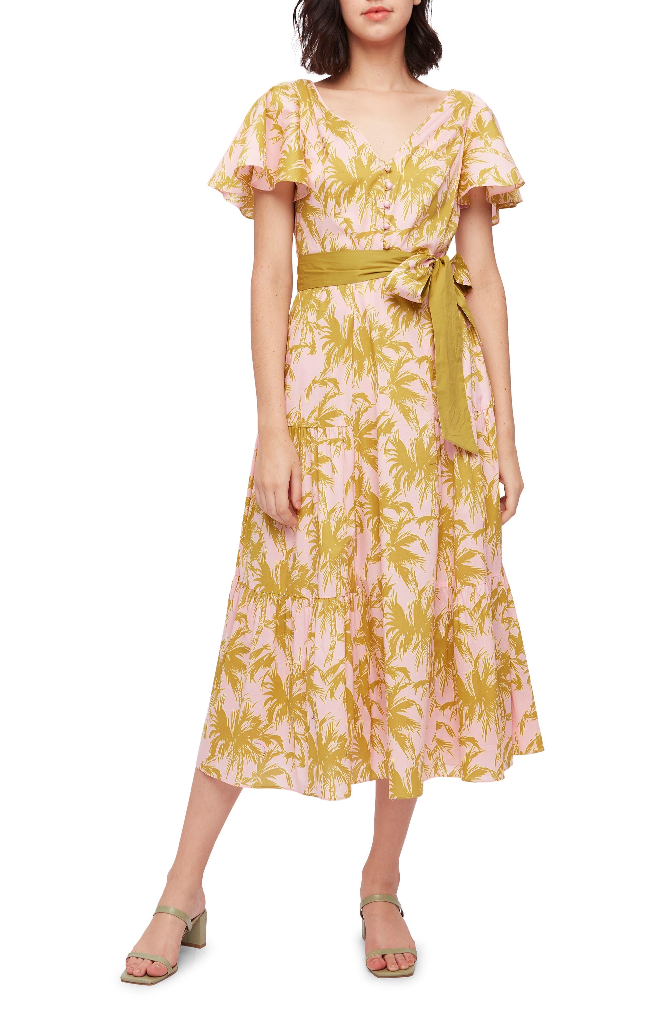 Leila Palm Print Voile Midi Dress