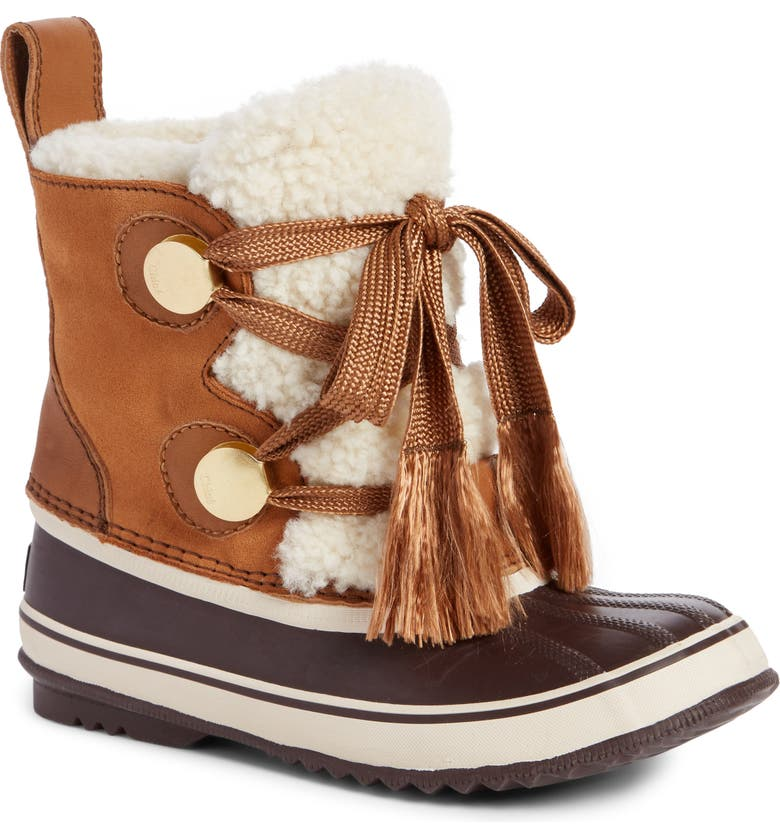 CHLOÉ SOREL x Chloé Genuine Shearling Trim Waterproof Boot, Main, color, 210