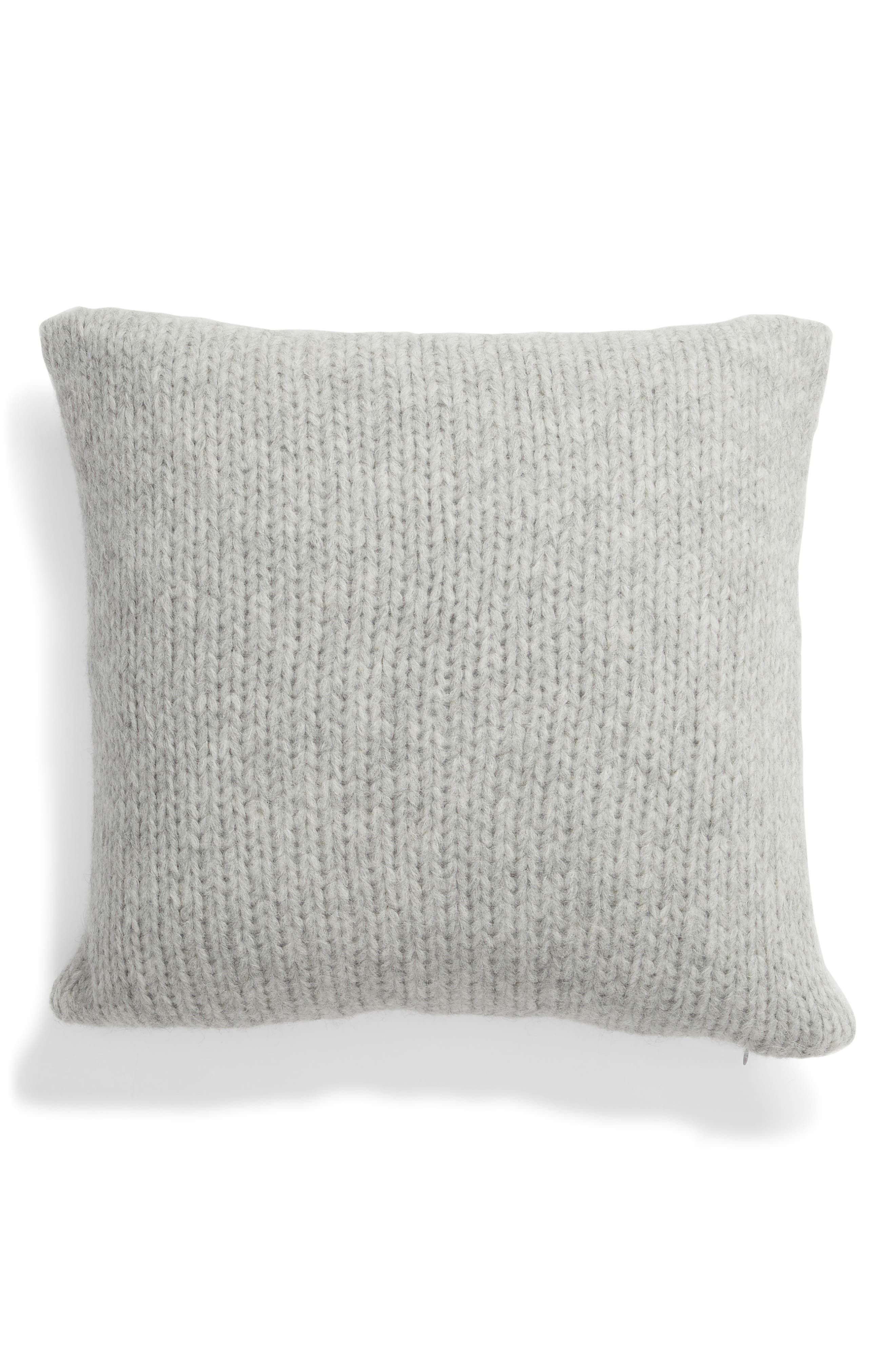 Chunky Knit Alpaca Blend Accent Pillow, Main, color, GREY HEATHER