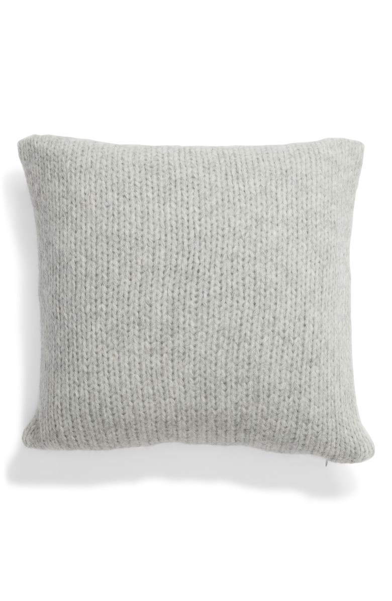 NORDSTROM SIGNATURE Chunky Knit Alpaca Blend Accent Pillow, Main, color, GREY HEATHER