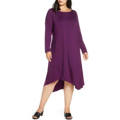 Plus Size Eileen Fisher Tencel Lyocell Blend Long Sleeve Asymmetrical Dress, Purple
