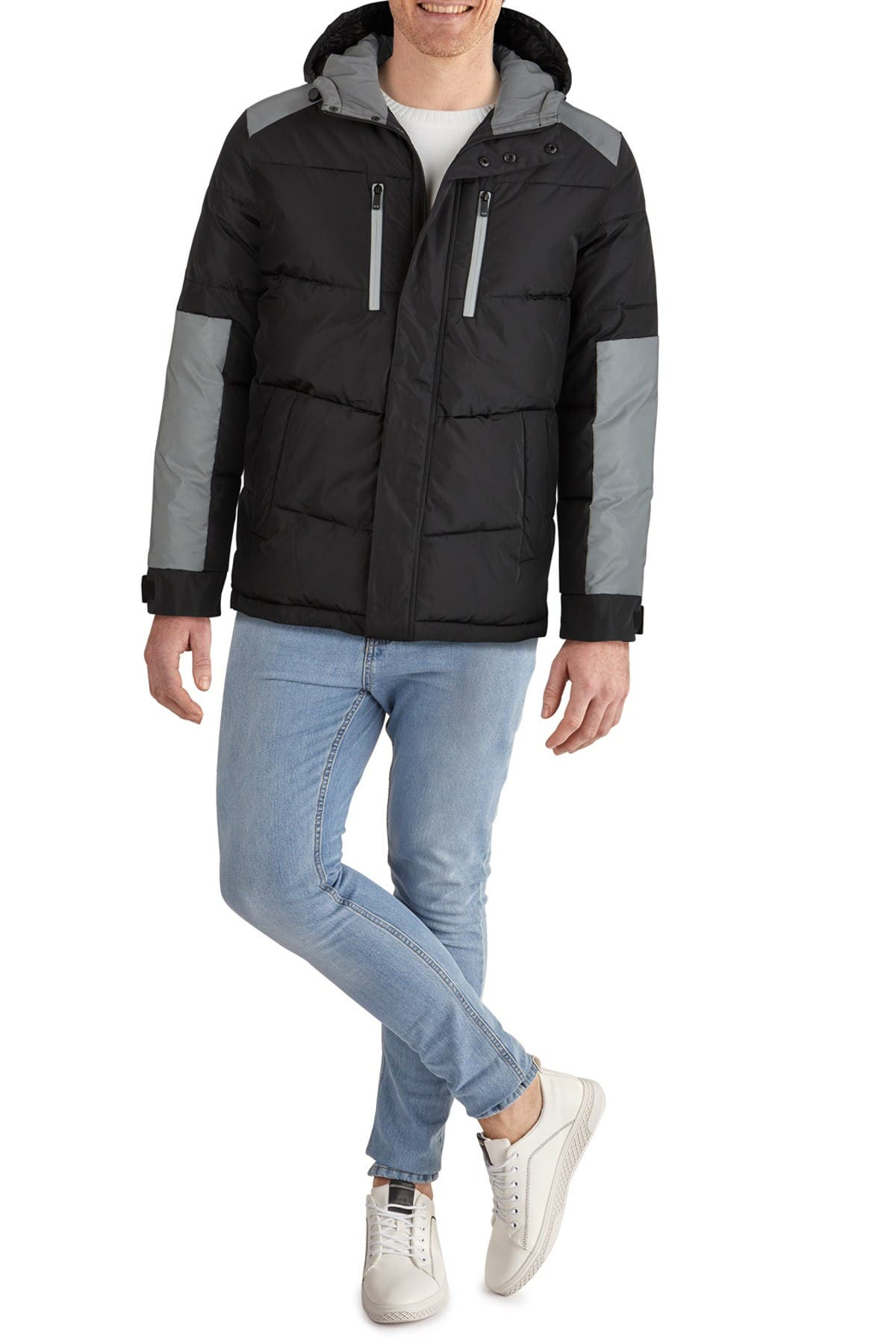 Kenneth Cole Colorblock Hooded Puffer Jacket In Black
