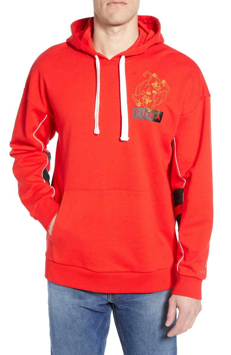 PUMA Last Dayz Embroidered Hoodie, Main, color, HIGH RISK RED