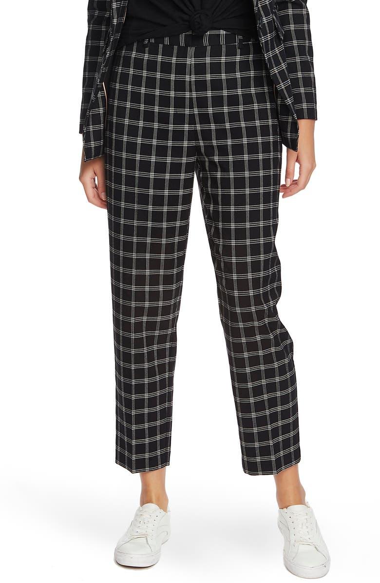 1.STATE Chic Windowpane Plaid Ankle Slim Pants, Main, color, 001
