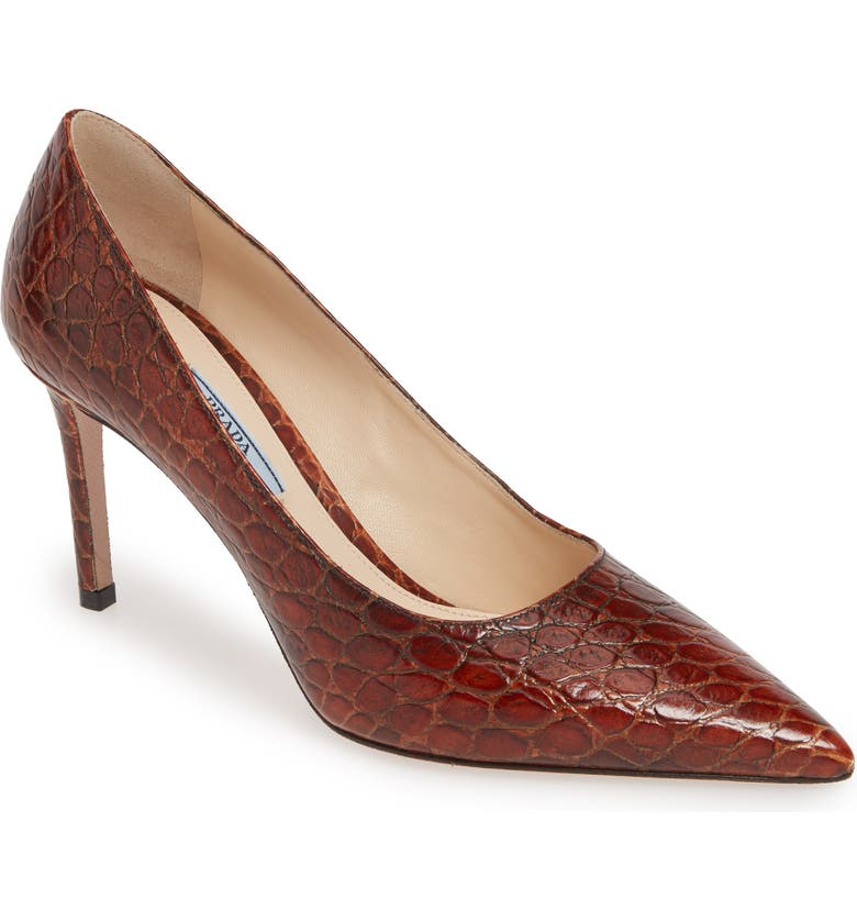 PRADA Pointy Toe Pump, Main, color, COGNAC CROC