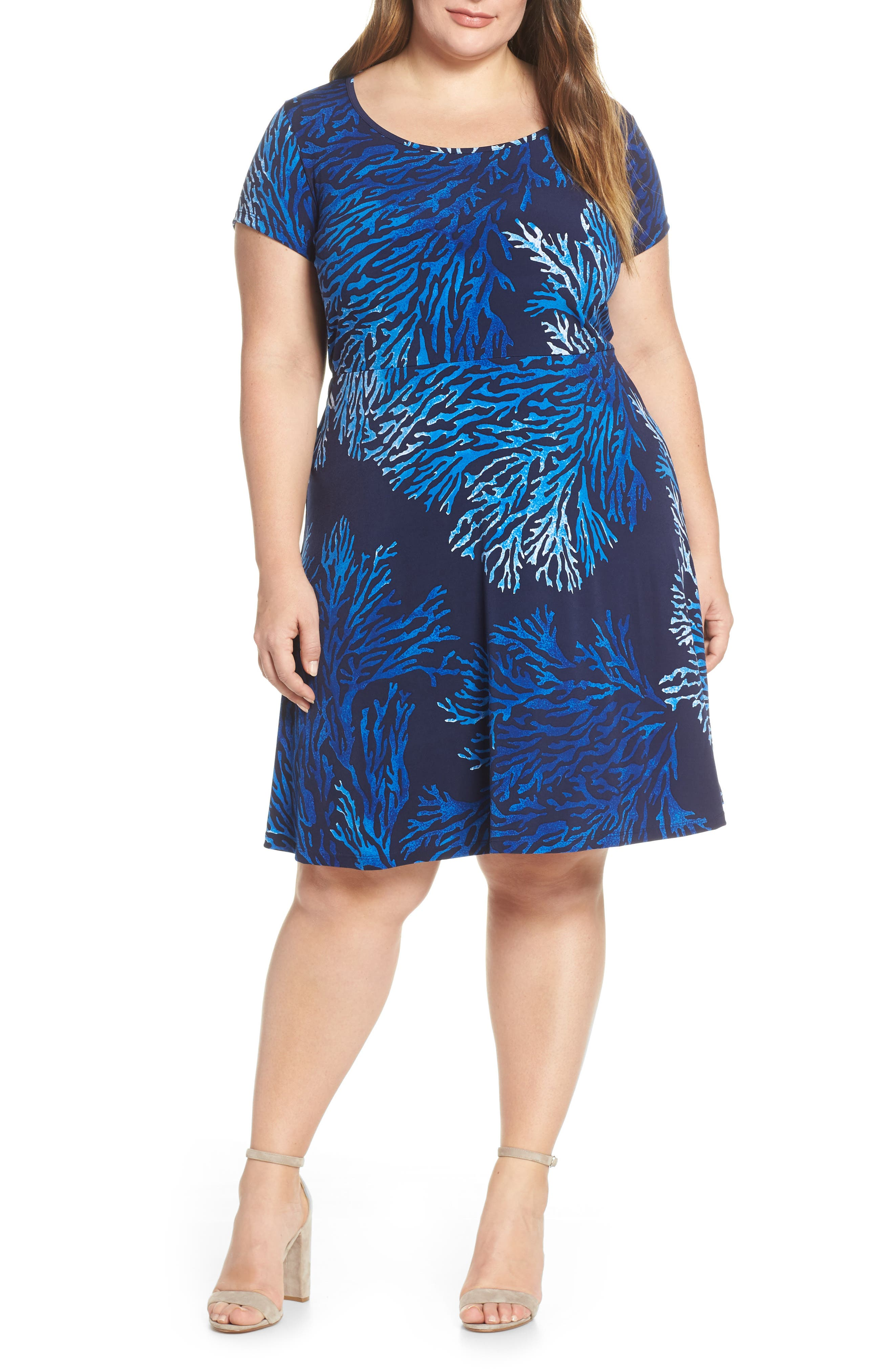 Plus Size Michael Michael Kors Petani Reef Fit & Flare Dress, Blue