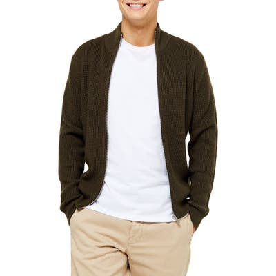 Topman Classic Fit Zip Sweater, Green