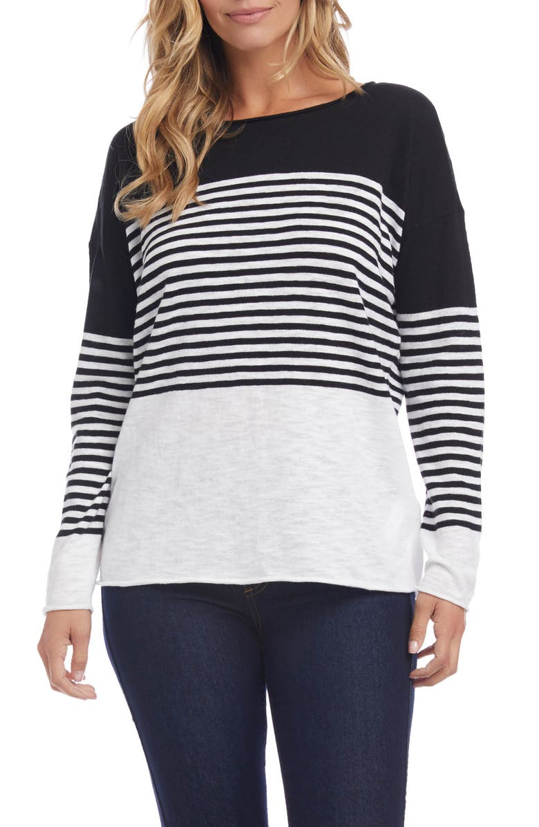KAREN KANE Colorblock Stripe Sweater, Main, color, BLACK/ OFF WHITE