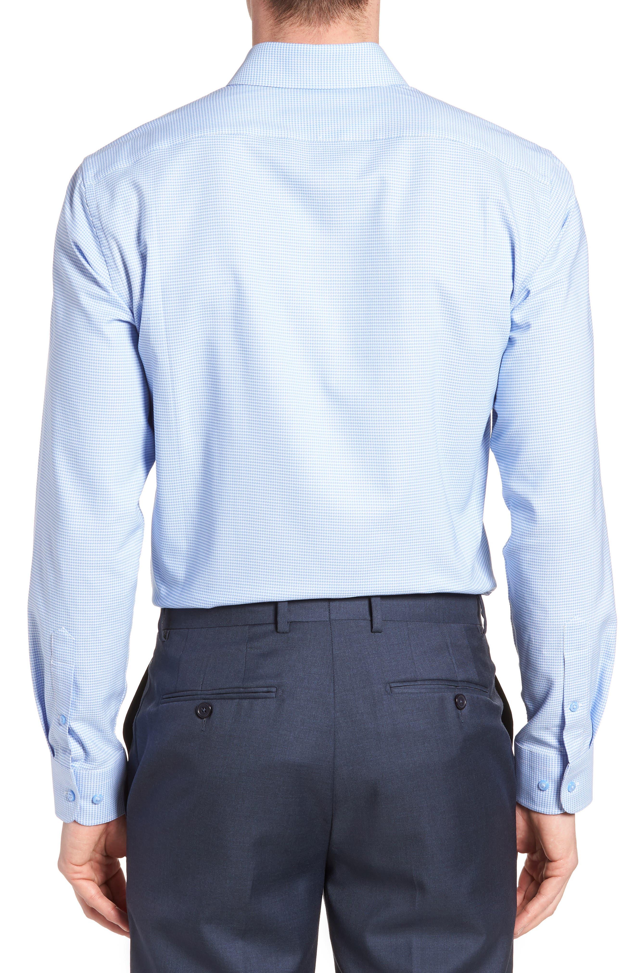 ,                             Tech-Smart Trim Fit Stretch Texture Dress Shirt,                             Alternate thumbnail 3, color,                             BLUE HYDRANGEA