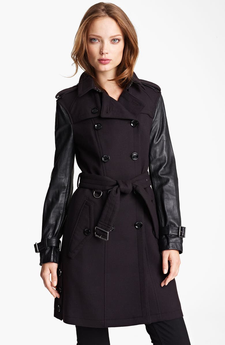 BURBERRY BRIT 'Yarrowfield' Lambskin Sleeve Trench, Main, color, 001