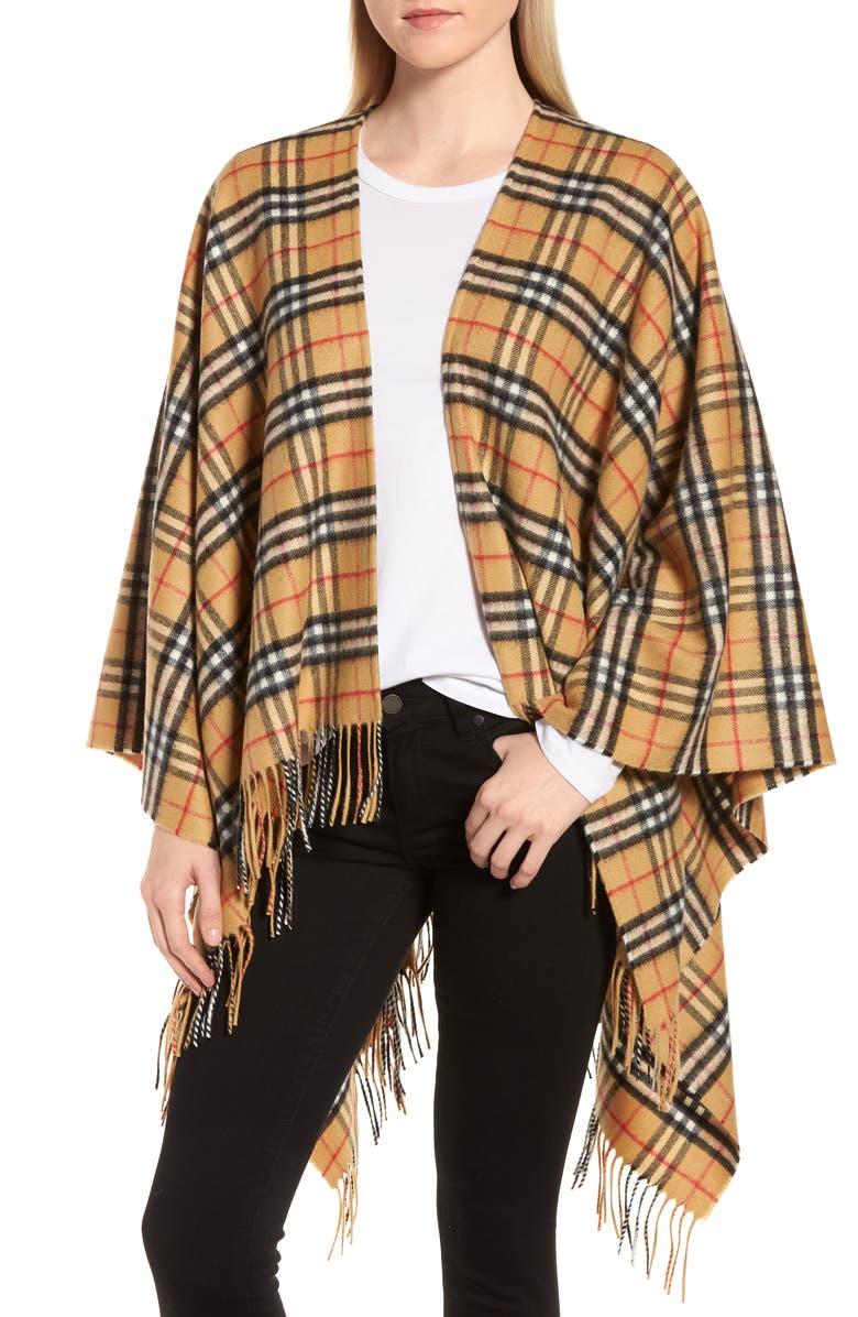 BURBERRY Vintage Check Cashmere & Wool Cape, Main, color, ANTIQUE YELLOW