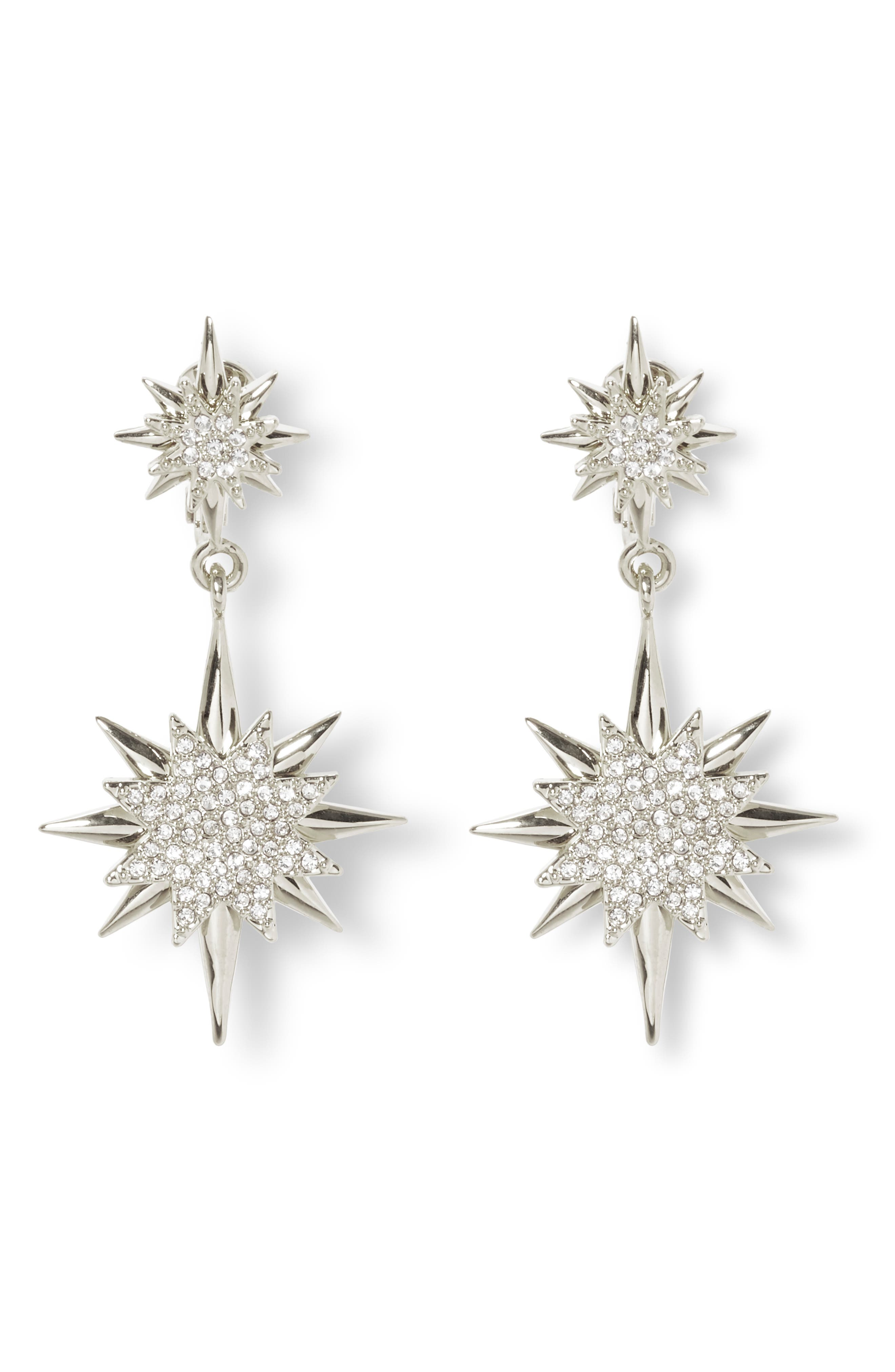 Celestial Double Drop Clip-On Earrings, Main, color, RHODIUM/ CRYSTAL