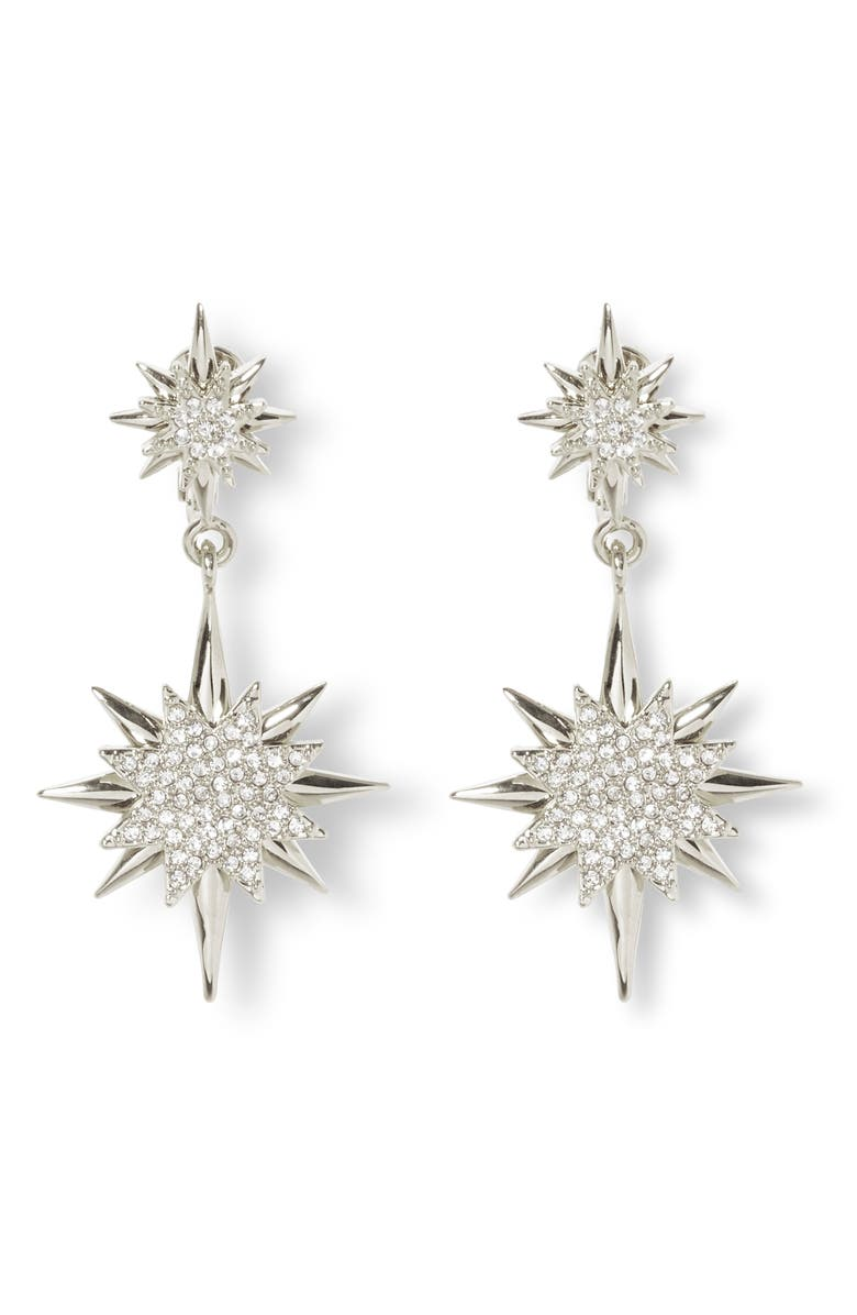 VINCE CAMUTO Celestial Double Drop Clip-On Earrings, Main, color, RHODIUM/ CRYSTAL