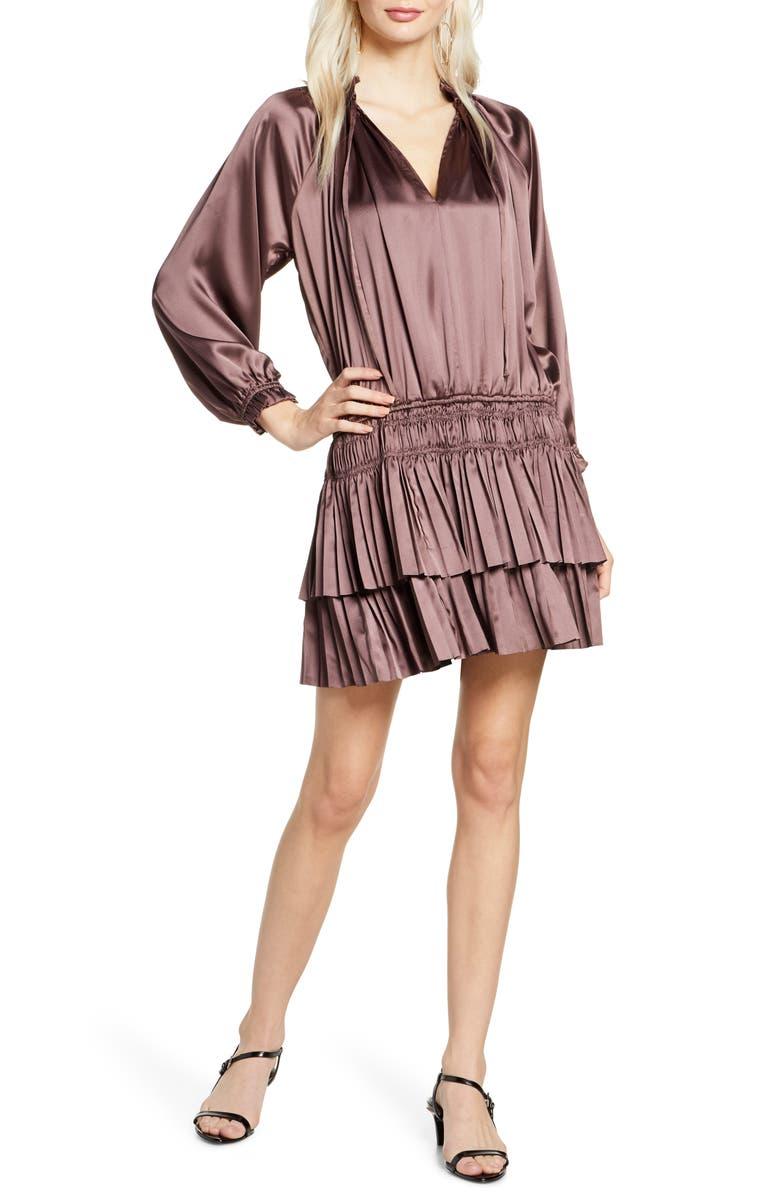 ELIZABETH CROSBY Andi Long Sleeve Satin Minidress, Main, color, BRONZE