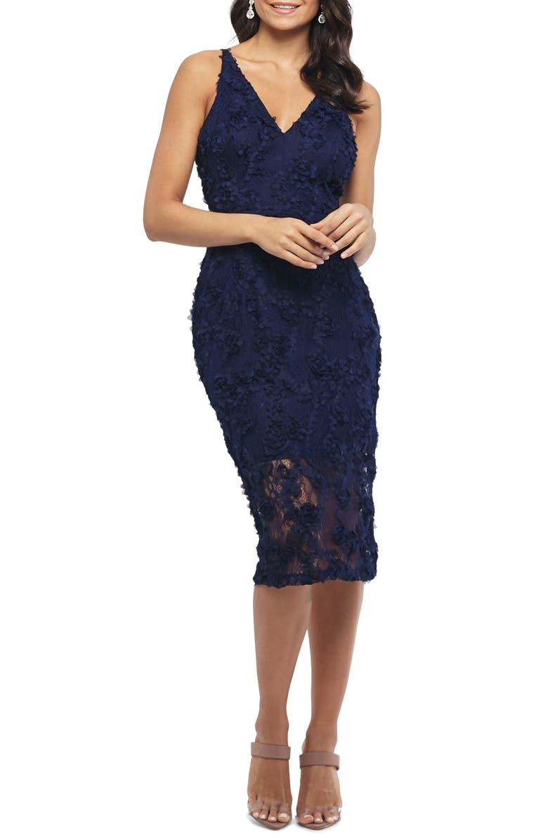 XSCAPE 3D Floral Cocktail Dress, Main, color, NAVY