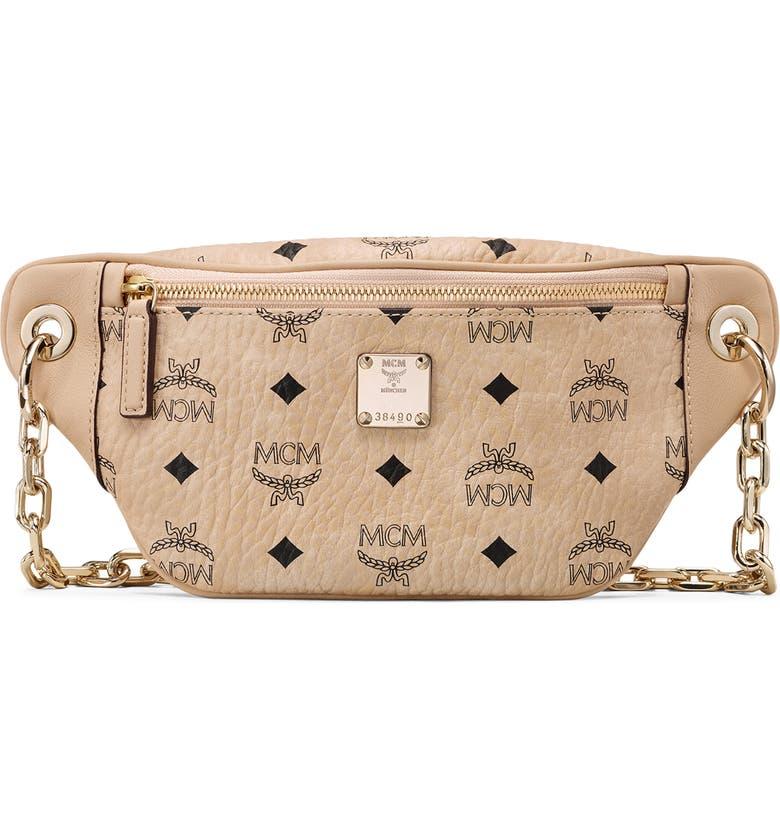 MCM Mini Essential Visetos Coated Canvas Belt Bag, Main, color, BEIGE