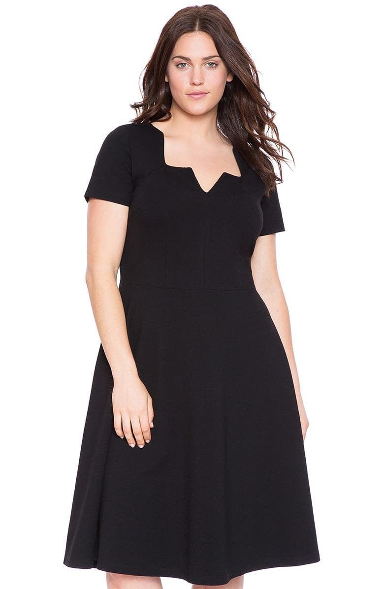 Eloquii Notch Neckline Scuba Knit Fit Amp Flare Dress Plus