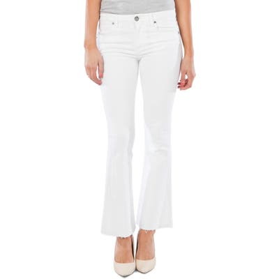 Kut From The Kloth Stella Fray Hem Flare Jeans, White