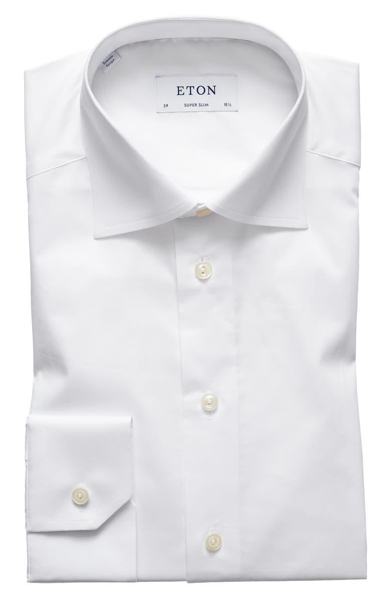 ETON Super Slim Fit Solid Dress Shirt, Main, color, WHITE
