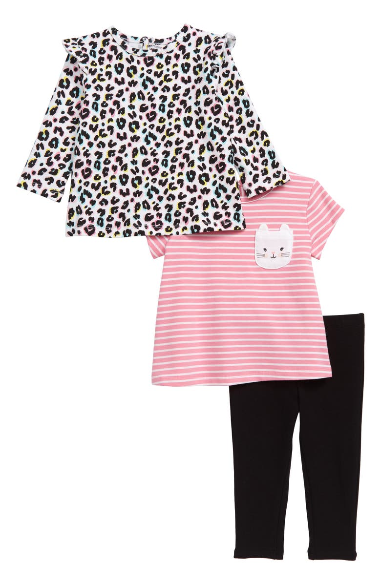 LITTLE ME Kitty Tunic, Tee & Leggings Set, Main, color, BLACK MULTI